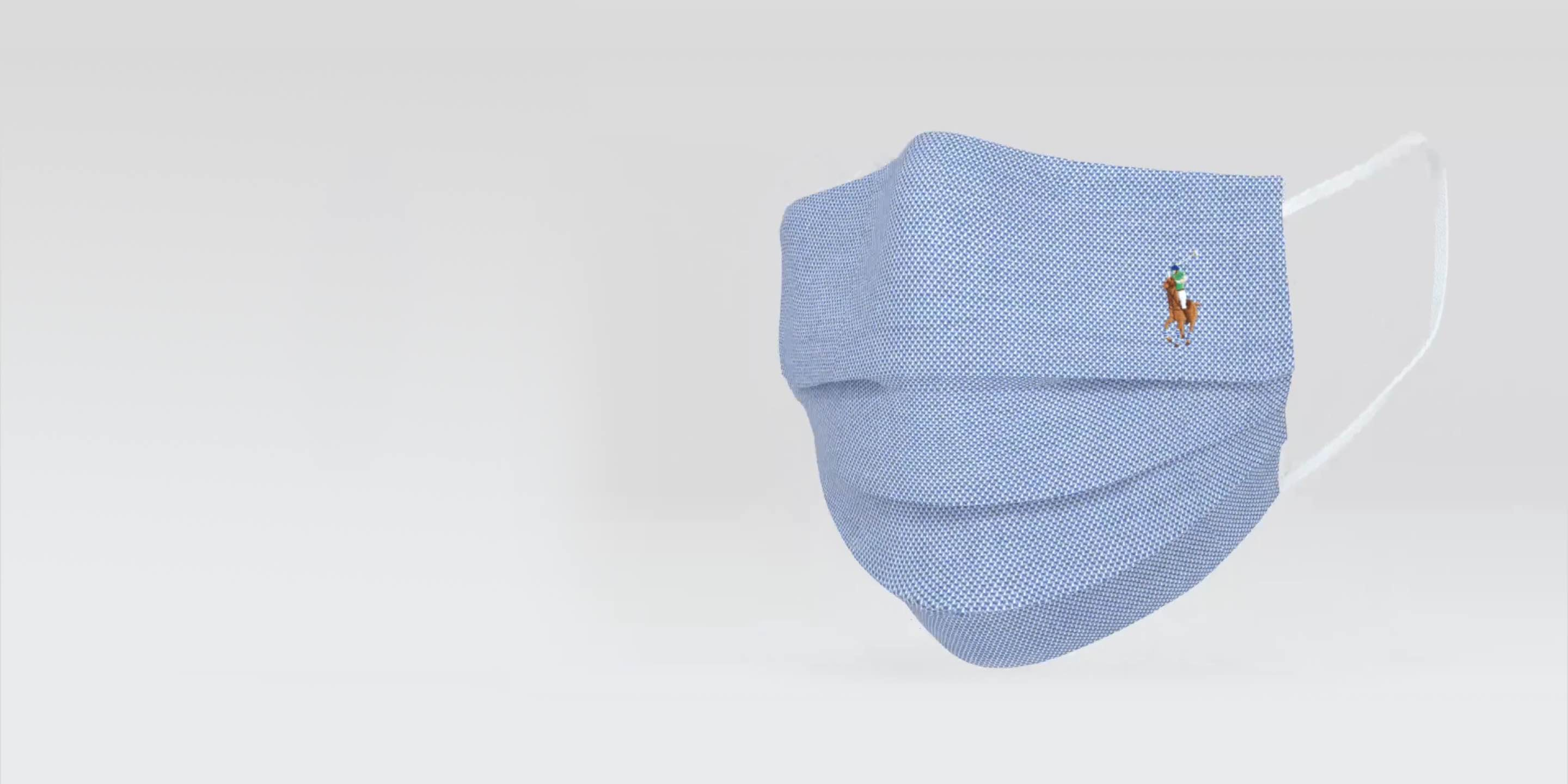 Blue cloth face mask with signature embroidered Pony.