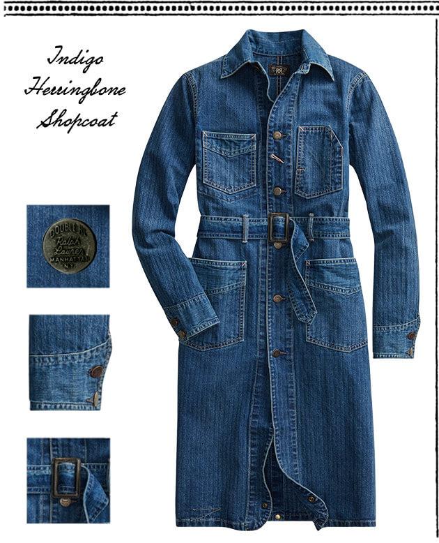 Belted blue shop coat & Double RL logo tees