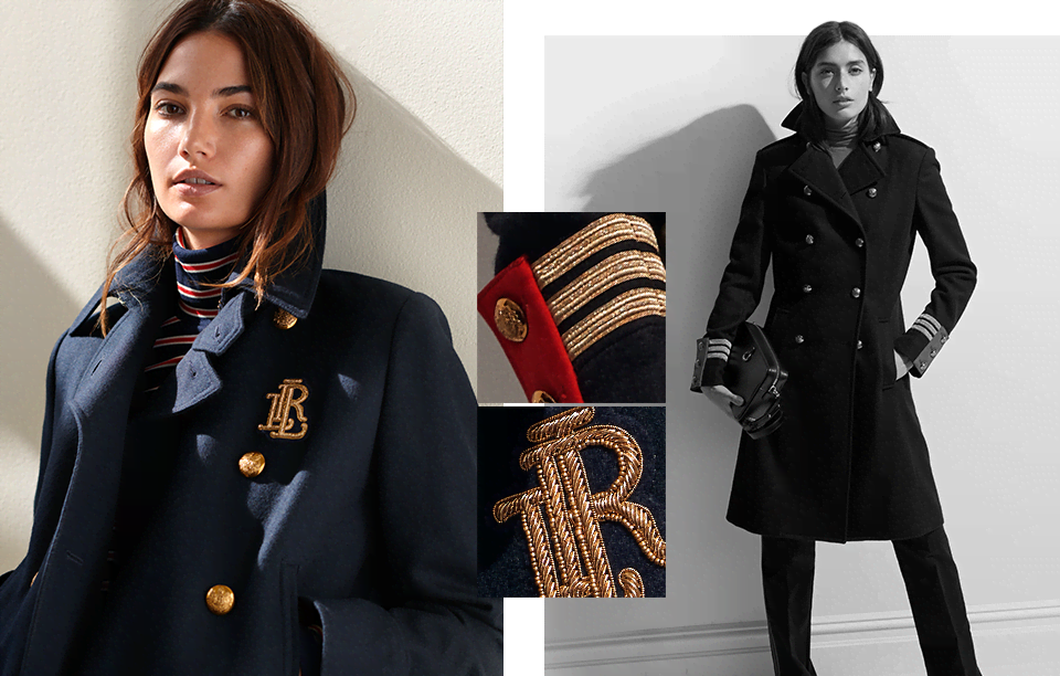 Model in navy coat with gold buttons & LRL bullion embroidery