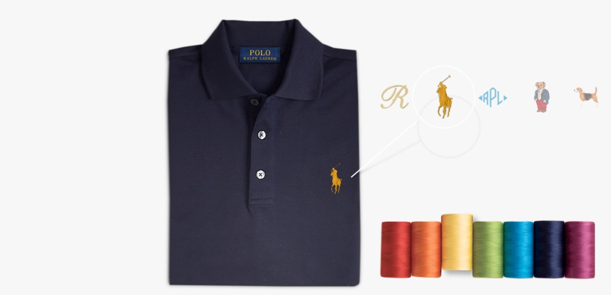 Animated navy Polo shirt & different embroidery options at left chest