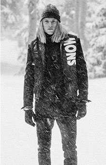 Black & white image of model in Snow Beach outerwear
