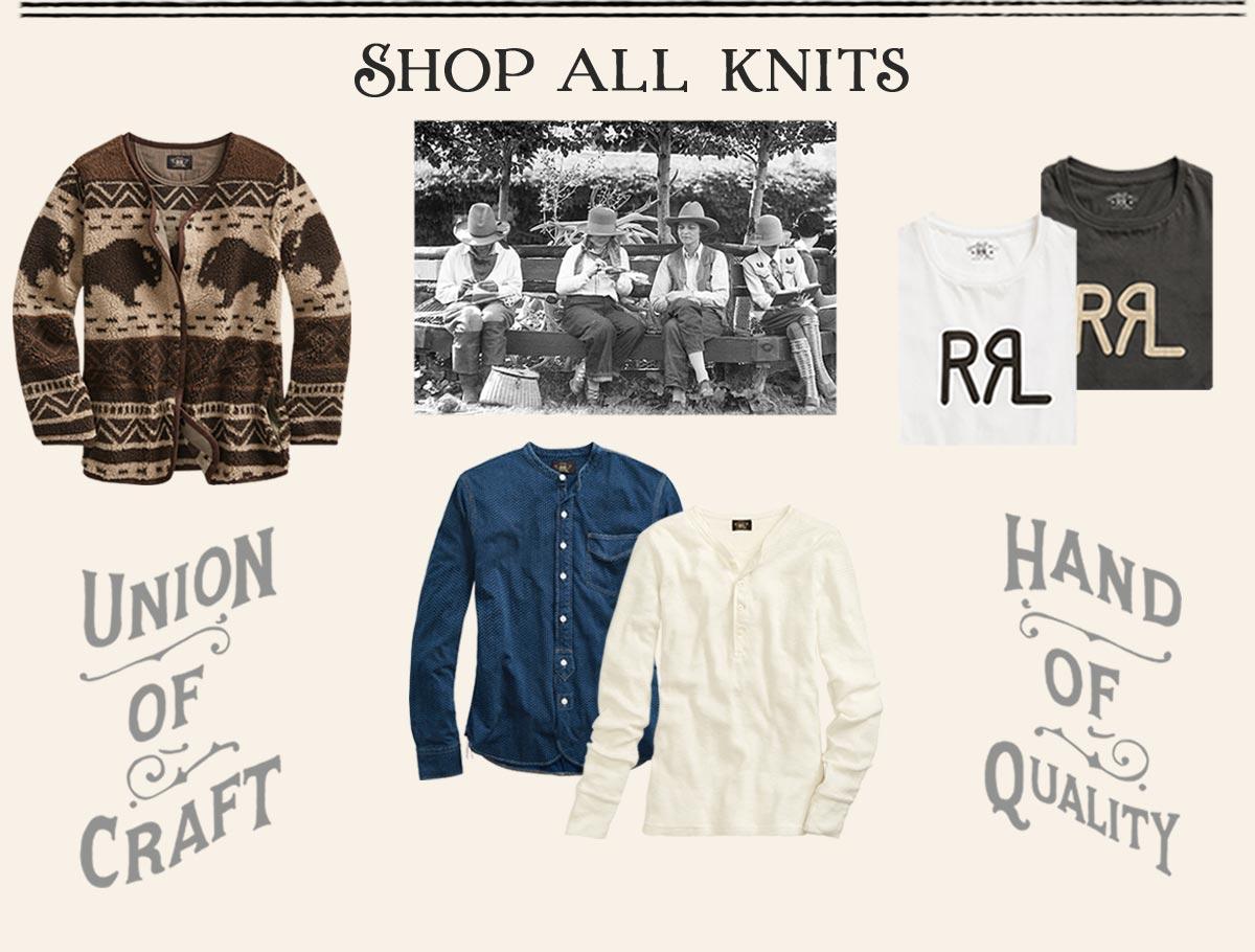 Bison-motif cardigan, white henley, indigo shirt & logo tees