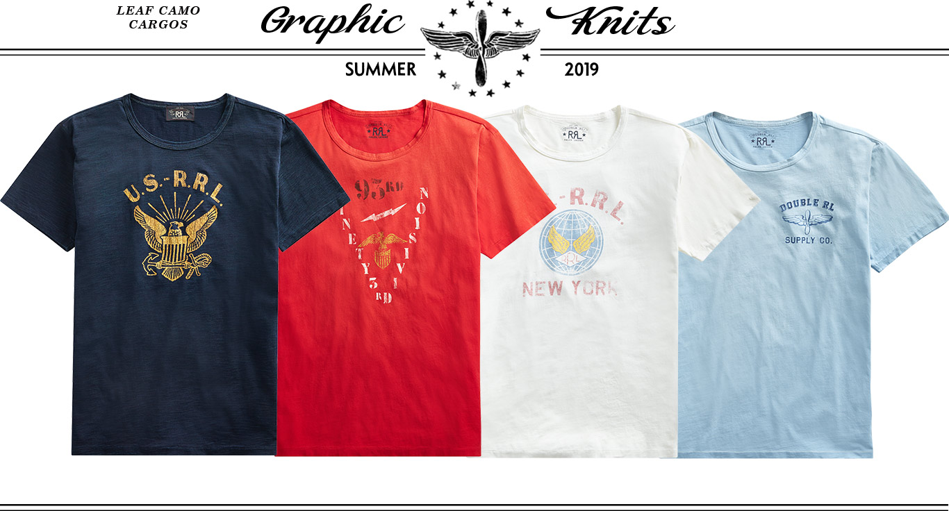 Graphic tees in navy, red, white & light blue