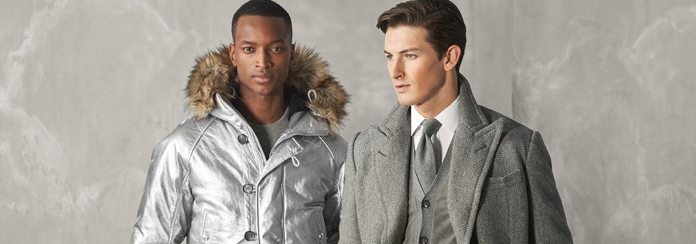 Man in faux-fur-trim silver parka & man in grey peacoat