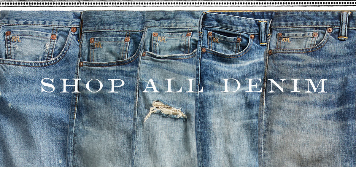 Row of jeans of various washes