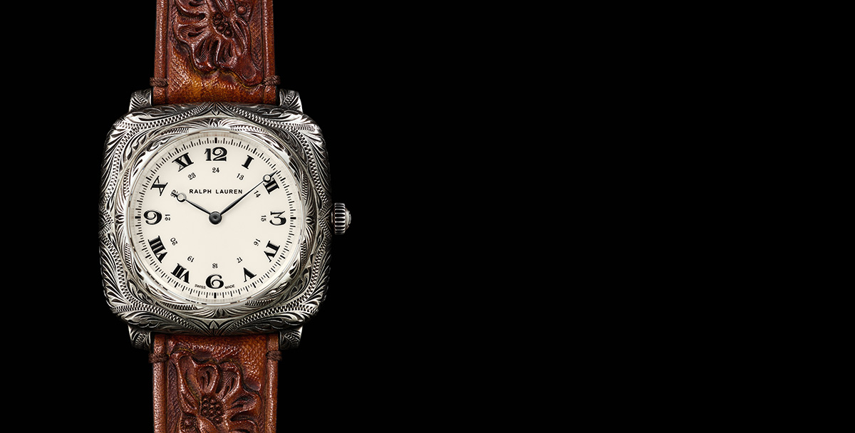 Squared watch with intricate engraving & hand-tooled brown leather strap
