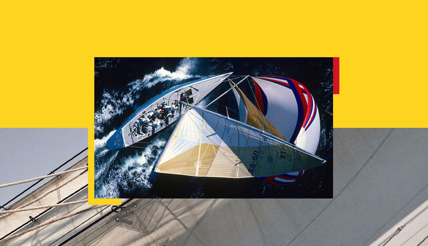 Overhead shot of sailboat