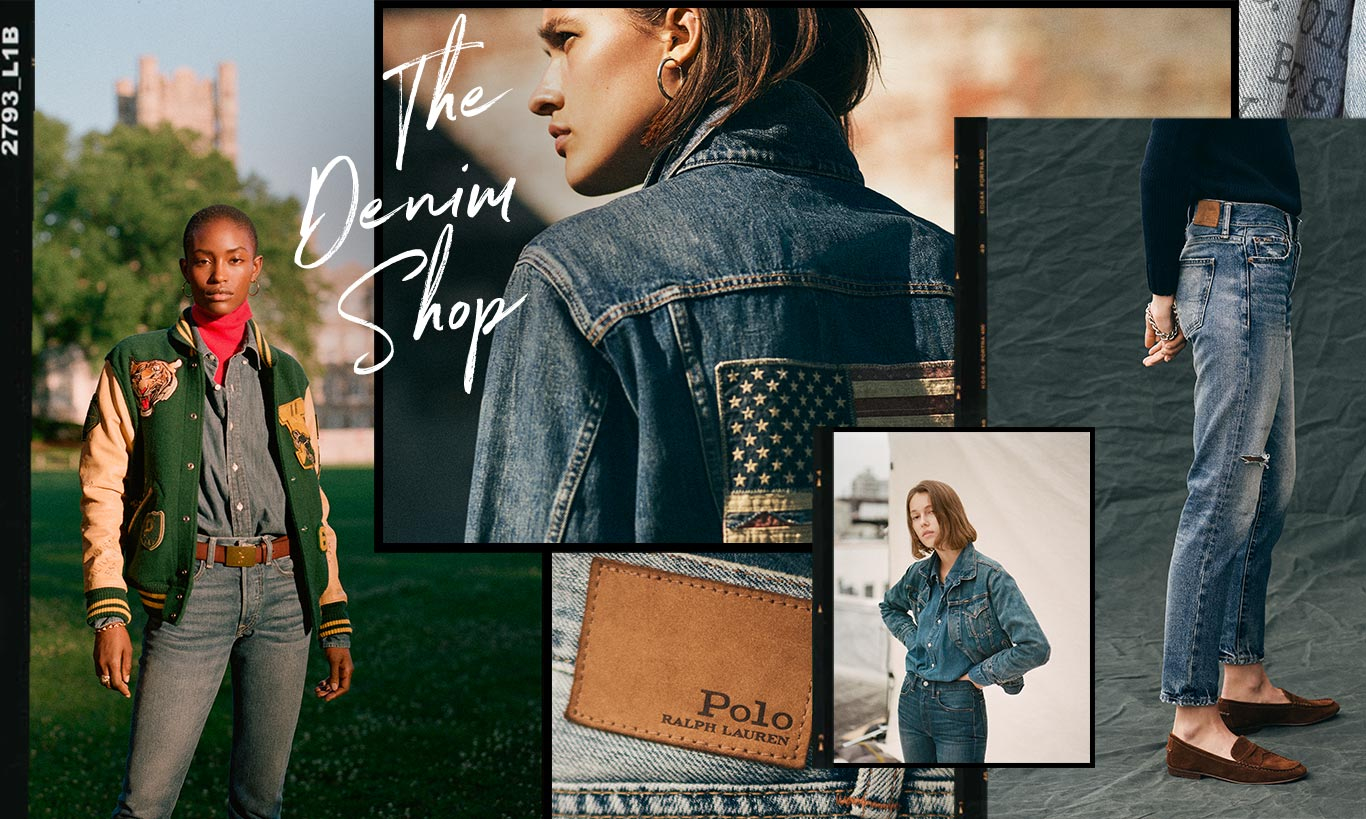 Collage of women sporting various Polo denim looks.  Copy: The Denim Shop