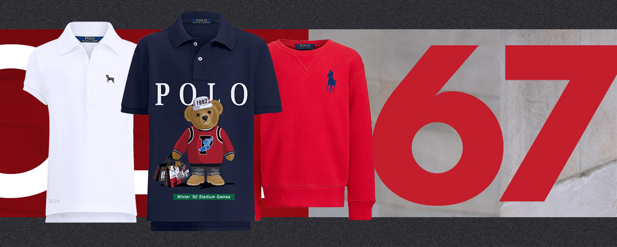 Polo shirts with customized Polo graphics and ponies.