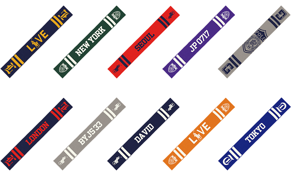 Grid of scarves in various hues & with custom graphics