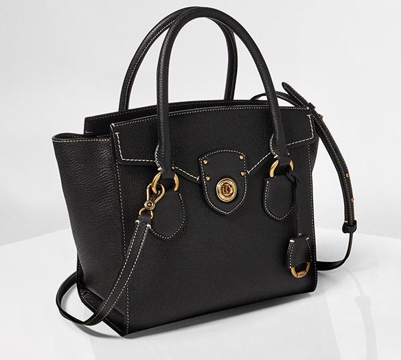 Denim shoulder bag with chain-link strap