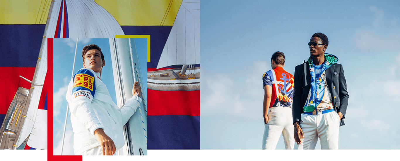 Men in nautical-inspired Ralph Lauren apparel on sailboats & by water