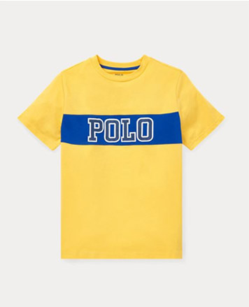 Yellow T-shirt with Polo script at the chest.