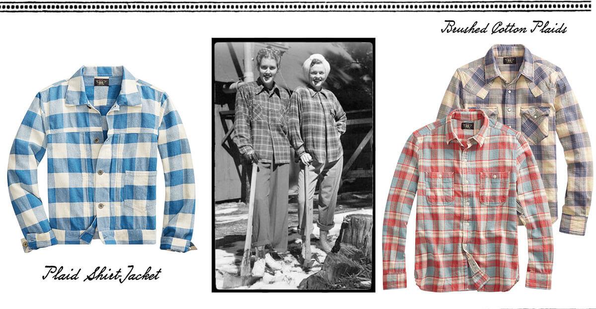 Plaid shirts & vintage photograph of woman wearing plaid shirts