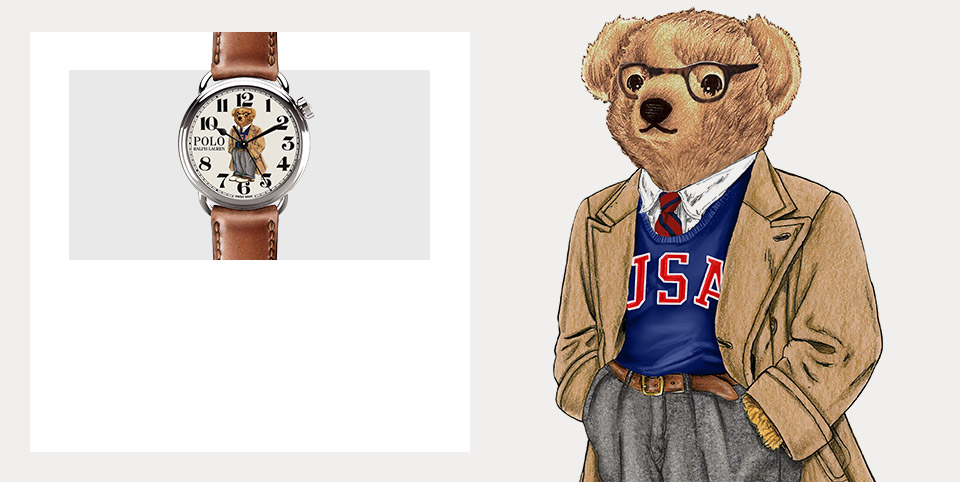 Drawing of the Polo Wear wearing USA sweatshirt and trench coat. Watch with Spectator Bear on the face.