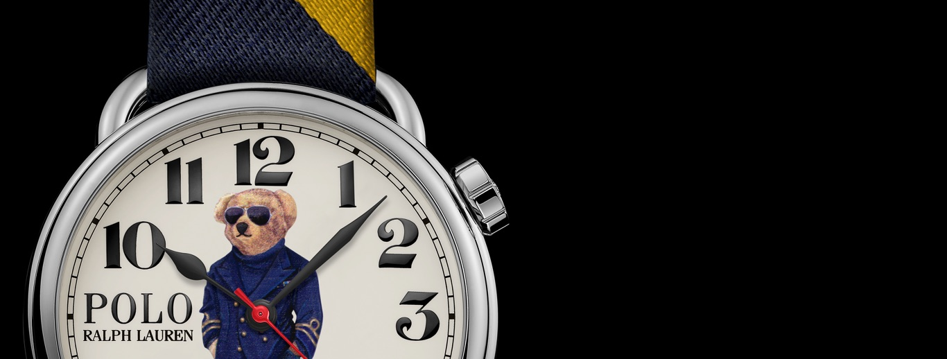 Watch with Nautical Bear at face & navy & yellow striped strap